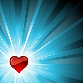 Czerwone błyszczące serce na niebieskim tle wybuch gwiazdy