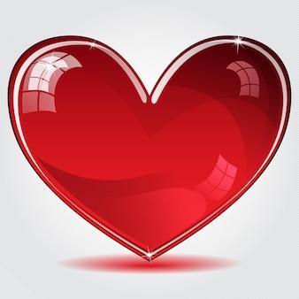 Czerwone błyszczące serce z cieniem na pasiastym tle