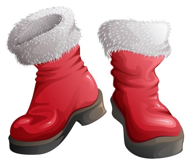 Czerwone buty świętego mikołaja. świąteczne dodatki odzieżowe