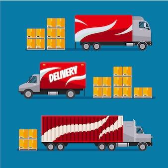 Czerwone ciężarówki z szybką dostawą w zestawie ze skrzynkami na paczki