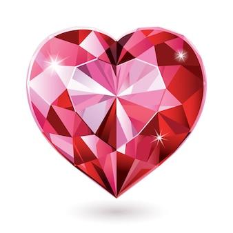 Czerwone diamentowe serce na białym tle