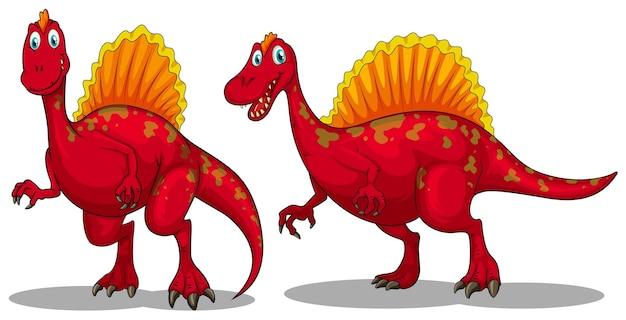Czerwone dinozaury z ostrymi zębami