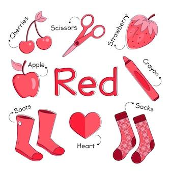 Czerwone elementy z angielskimi słowami