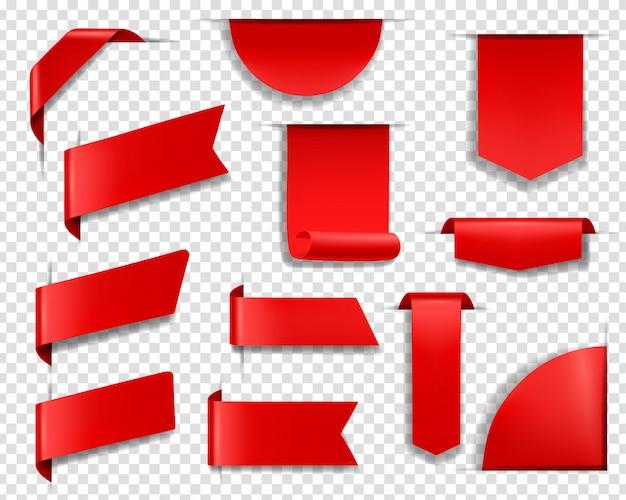 Czerwone etykiety, przywieszki i banery. zestaw