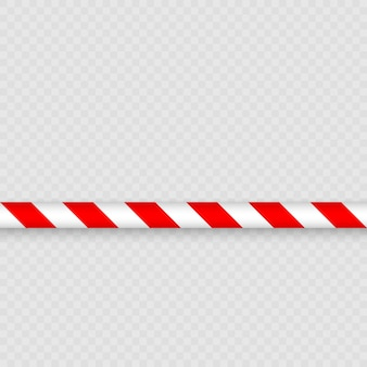 Czerwone i białe linie taśmy barierowej. ogrodzenie słupowe z taśmą ostrzegawczą chroni przed wejściem