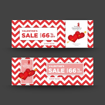 Czerwone i białe miłości i walentynki sprzedaży banerów internetowych z zygzakowaty wzór