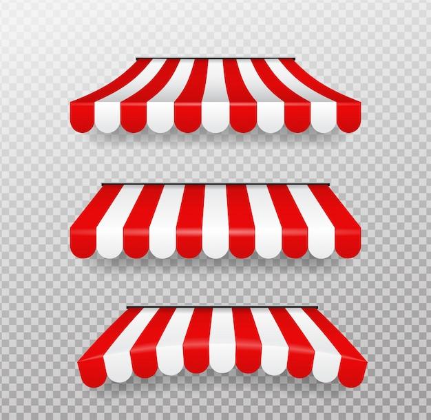 Czerwone i białe parasole dla sklepów na białym tle