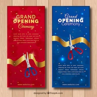 Czerwone i niebieskie banery inauguracyjne