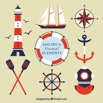 Czerwone i niebieskie elementy żeglarskie