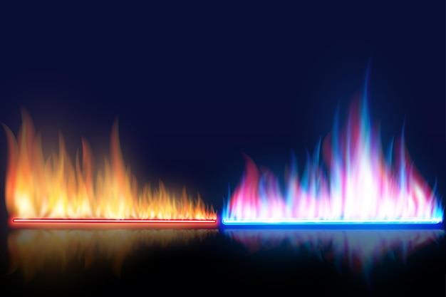 Czerwone i niebieskie płomienie.