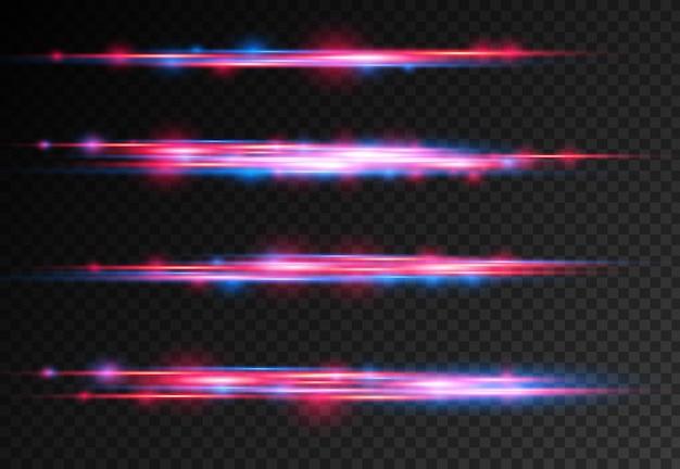 Czerwone i niebieskie wiązki laserowe poziome promienie światła świecące błyszczące ruchy linii