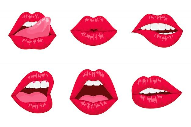 Czerwone i różowe całowanie i uśmiechnięte usta kreskówka na białym tle.
