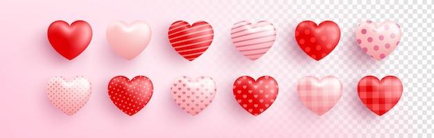 Czerwone i różowe słodkie serce z różnymi wzorami na przezroczystym