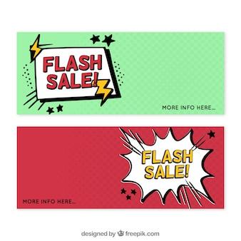Czerwone i zielone banery sprzedaży flash