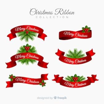 Czerwone i zielone świąteczne wstążki kolekcji