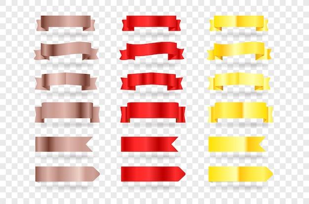 Czerwone i złote banery. elementy clipart na przezroczystym tle