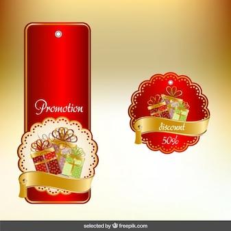 Czerwone i złote christmas etykiety opakowanie