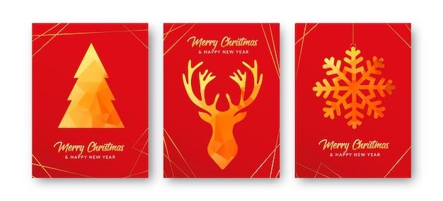 Czerwone i złote kartki świąteczne
