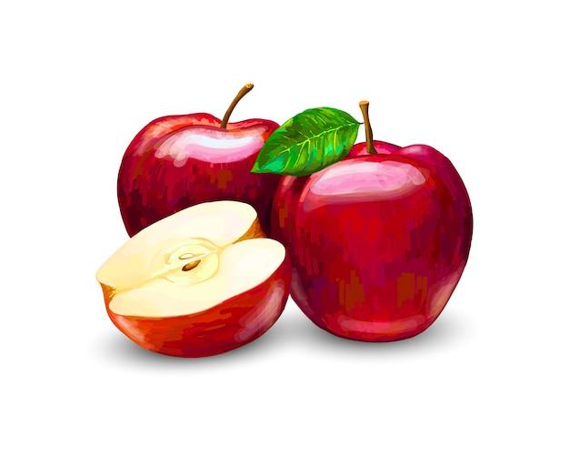 Czerwone jabłka, całe i plastry. słodkie owoce na białym tle. realistyczne ilustracje wektorowe