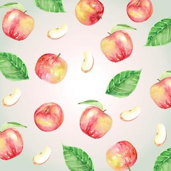 Czerwone jabłka i liście wzór akwarela