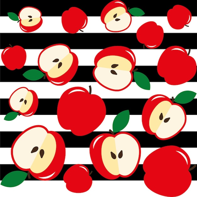 Czerwone jabłka na czarno-białym tle w paski