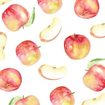Czerwone jabłka wzór i plasterek styl akwarela