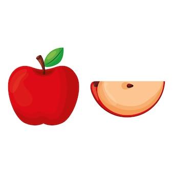 Czerwone jabłko i kawałek jabłka na białym tle. ilustracja wektorowa