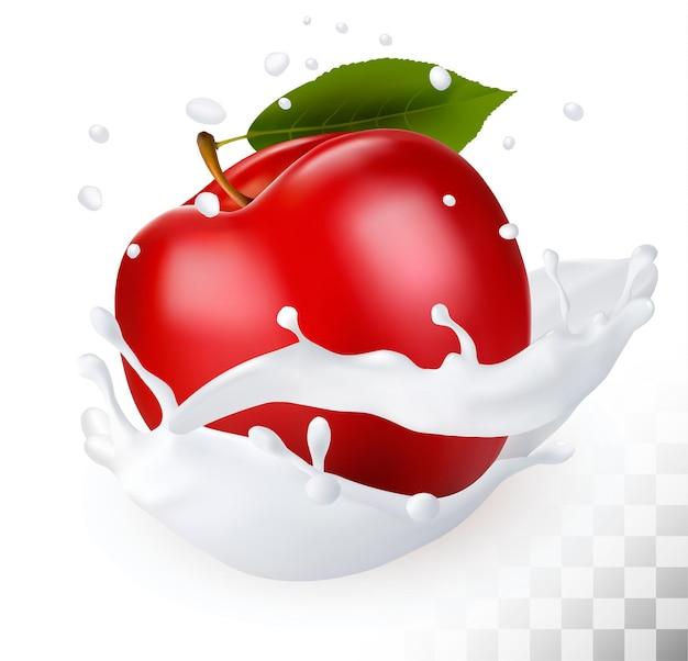 Czerwone jabłko w plusk mleka na przezroczystym tle