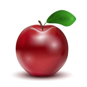 Czerwone jabłko z liści na białym tle