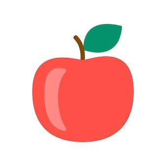 Czerwone jabłko zbliżenie, ikona zbioru dojrzałych owoców. popularne zdrowe jedzenie ogrodowe. owoc jabłkowy. płaska ilustracja