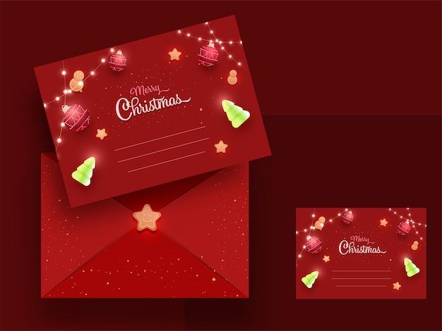 Czerwone kartki z życzeniami lub szablon zaproszenia poziome z kopertą na wesołych świąt.