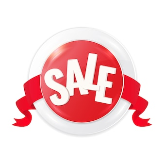 Czerwone kółko etykieta sprzedaży ze wstążką.