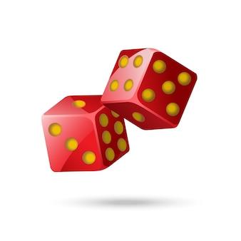 Czerwone kości pokera - nowoczesny wektor na białym tle obiekt na białym tle. dwie pozycje. kasyno, hazard, szczęście, koncepcja fortuny. użyj tej wysokiej jakości grafiki do prezentacji, banerów, ulotek
