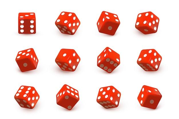 Czerwone kostki do gry w kości do gry ustawiają toczenie i rzucanie losowymi liczbami z kropkami na białym tle