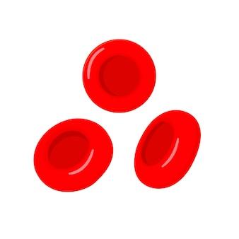 Czerwone krwinki na białym tle. ilustracja w stylu kreskówki