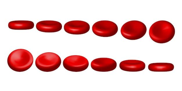 Czerwone krwinki. zestaw erytrocytów w różnych pozycjach na białym tle na białym tle. ilustracja