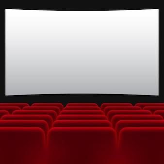 Czerwone krzesła w kinie z przezroczystym tłem
