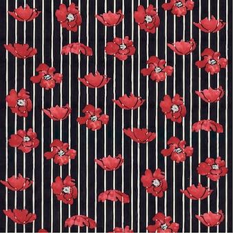 Czerwone kwiatowe wzorzyste tło wektor w stylu secesyjnym, remiks z dzieł ethel reed