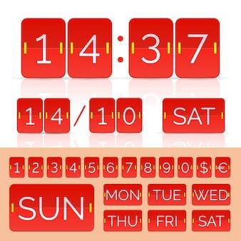 Czerwone liczniki czasu i numery tablicy wyników. ilustracja wektorowa eps10