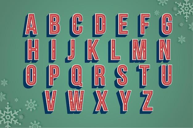 Czerwone litery alfabetu boże narodzenie