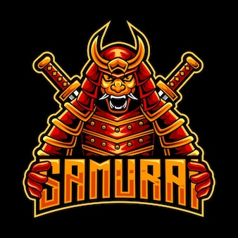 Czerwone logo maskotki samuraja omni