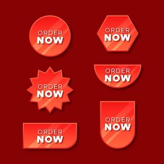 Czerwone lub niebieskie zamów teraz etykiety