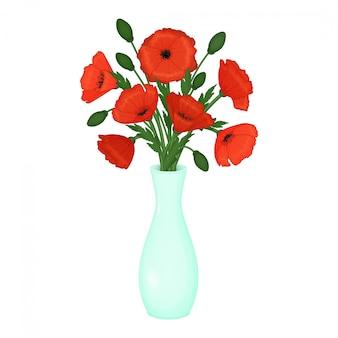Czerwone maki w wazonie. kwiaty na białym tle. ilustracja.