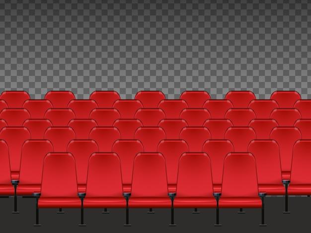 Czerwone miejsce w kinie na białym tle
