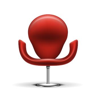 Czerwone nowoczesne krzesło na białym tle