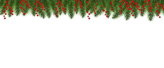 Czerwone obramowanie wesołych świąt z holly berry białym tle