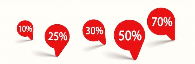 Czerwone okrągłe etykiety z procentami na białym tle