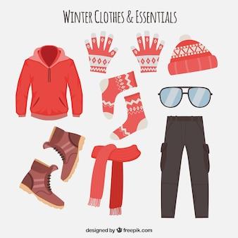 Czerwone płaskie ubrania zimowe