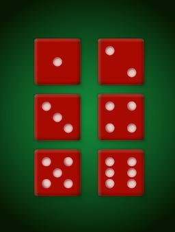 Czerwone plastikowe kostki do kasyna