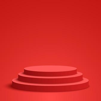 Czerwone podium na cokole okrągła scena ilustracja wektorowa